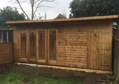 Ascot 17x8 with Shed Compartment, T&Gv Lining & Insulation, Heavy Torch-On Felt and Guttering