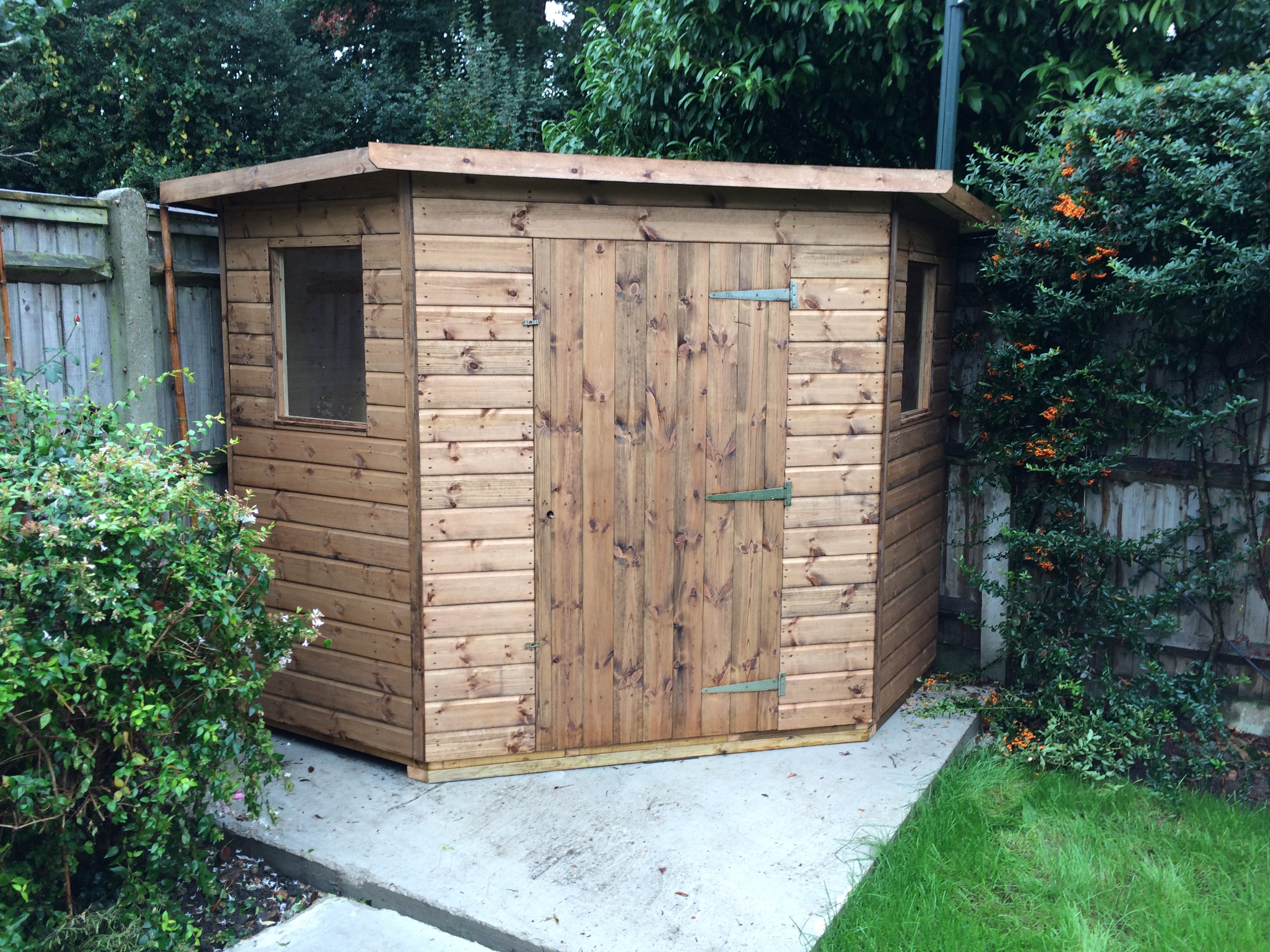 Corner shed mb garden building for Garden shed 7x7