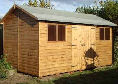 Deluxe Apex 16x10, Extra Height, Double Doors and Windows under eaves