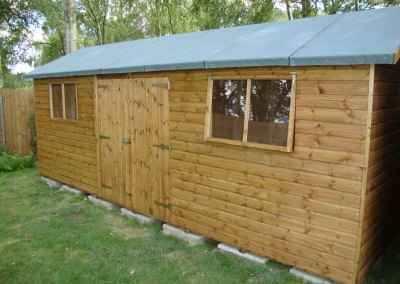 Deluxe Apex 20x10, Extra Height, Double Doors & Windows under eaves and Heavy Torch-On Felt