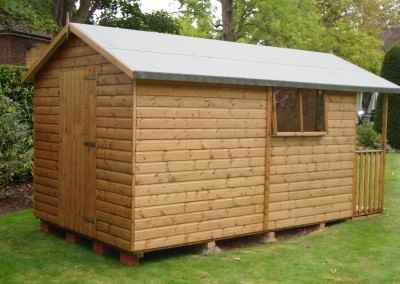 Deluxe Apex Bespoke 12x8, 2'6 Verandah, Extra Door in rear gable