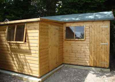 Deluxe Apex Bespoke 14x7, Extra Height with 7x7 Deluxe Pent Lean-To and Heavy Torch-On Felt