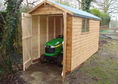 Deluxe Apex Tractor Shed 11x6, Double Doors, No Floor & Brick Base