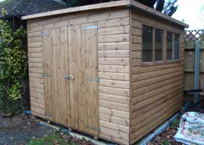 Deluxe Pent 10x9, reverse roof slope and Double Doors