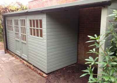 Deluxe Pent 14x5 with Frensham Doors, Tilford Windows, Guttering, Open Storage Area and Painted Finish.