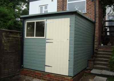 Deluxe Pent 7x11 Lean-To, Stable Door, Painted Finish, Guttering