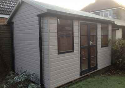 Deluxe Studio 12x8, Heavy Torch-On Felt, Gutter & Downpipes, Double Glazing, T&GV Lined and Insulated, Shades Finish.