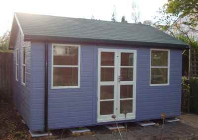 Deluxe Studio 14x12 Extra Height, Richmond Doors, Sash Windows, Felt Tiled Roof, Guttering and Silver Birch Finish