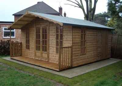Petersham Bespoke 14x16 Summerhouse with Partitioned Shed Compartment and 2'6'' Verandah