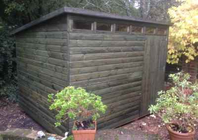 Security Shed 10x7 with Pent Roof and Green Stained By Customer.