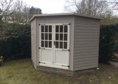 Tilford Corner House 8x8 with 9 Pane Doors and No Windows.