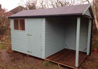 Deluxe Apex 8x8 with Open Storage Area. Heavy Felt, Guttering and Painted Finish.