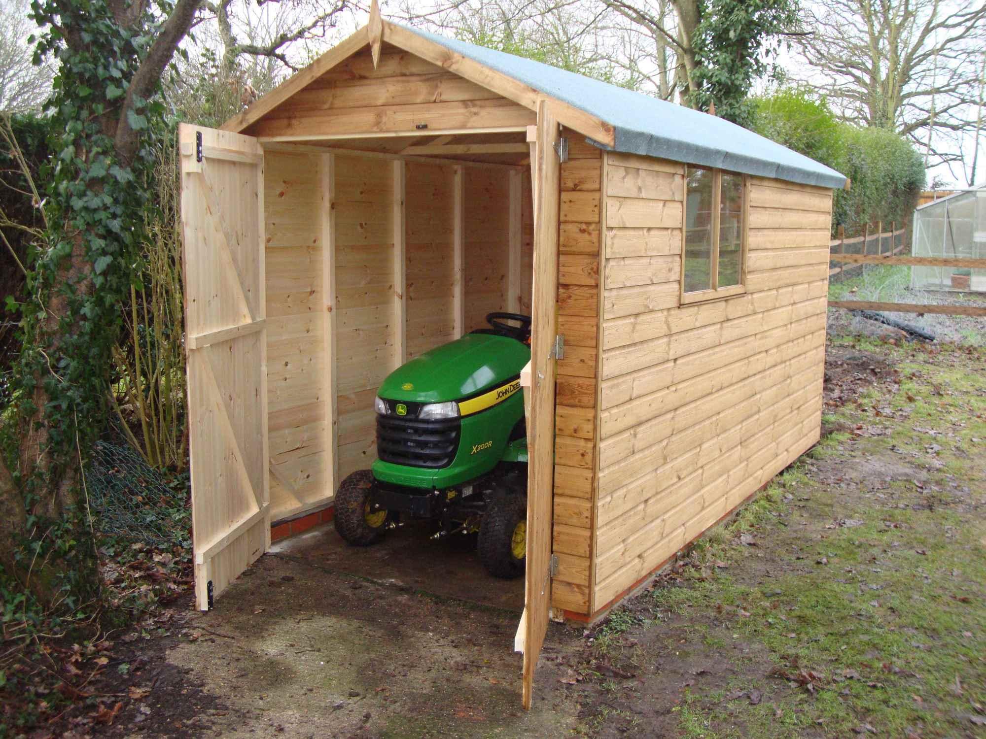 Double garage doors mb garden building for Brick garden shed designs