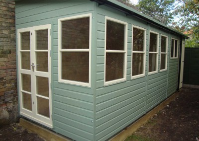 Deluxe Pent Bespoke 20x7, Extra Height, Reverse Roof Slope, Richmond Doors, Sash Windows, Partitioned Shed Compartment, Ply Lining with Insulation, Guttering and Willow Finish