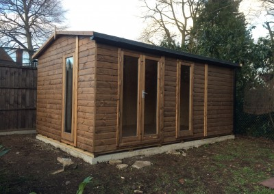 Deluxe Studio 16x10 with Ascot Doors, Shallow Roof Pitch, Heavy Torch-On Felt, T&Gv Lining & Insulation, Double Glazing and Guttering.