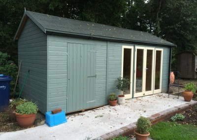 Deluxe Studio with Ascot Door_Windows, Shed Compartment, Green Tiled Roof, Guttering, T&Gv Lining & Insulation and Painted Finish