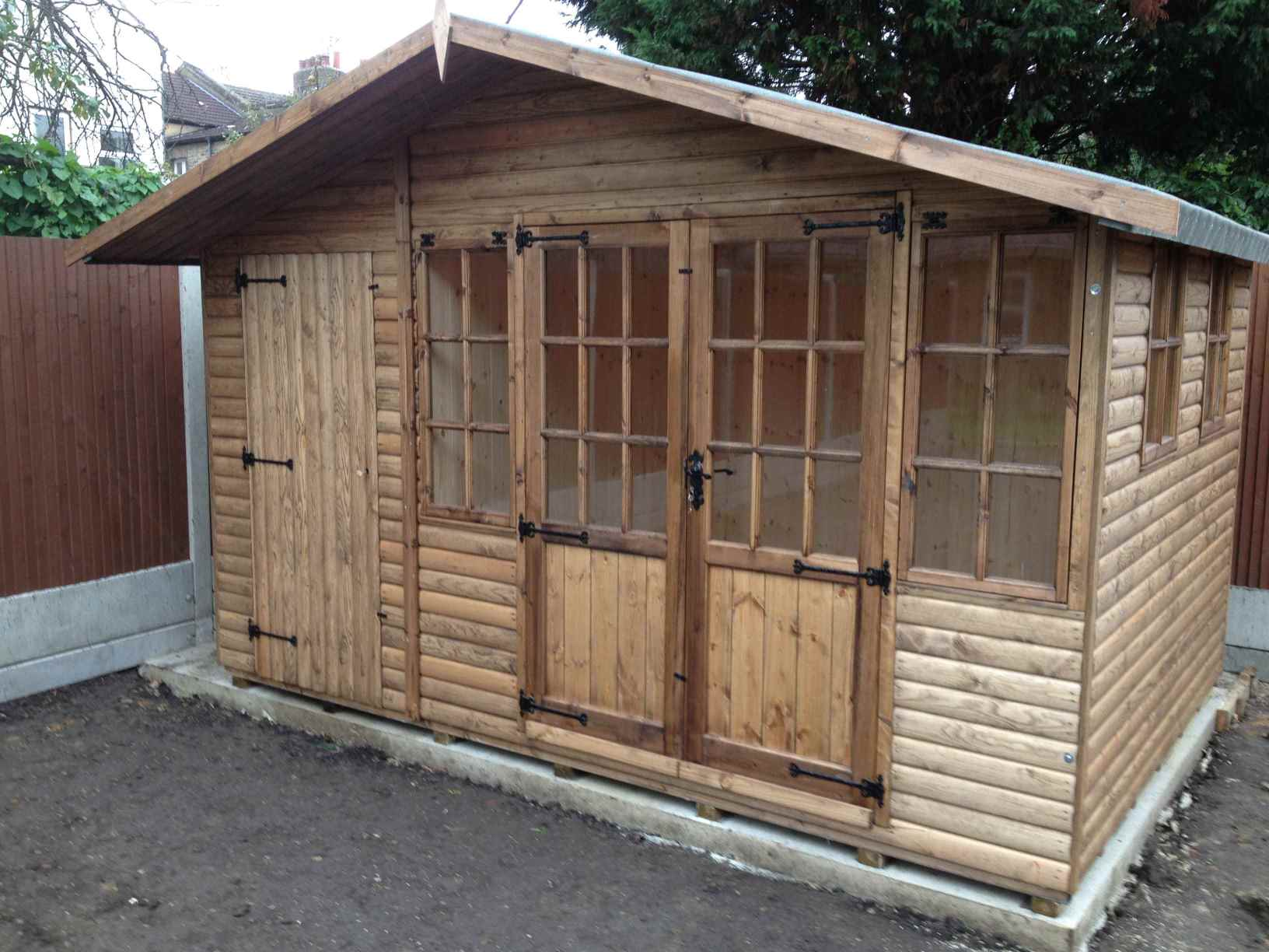 Log lap cladding mb garden building for 12x8 shed with side door