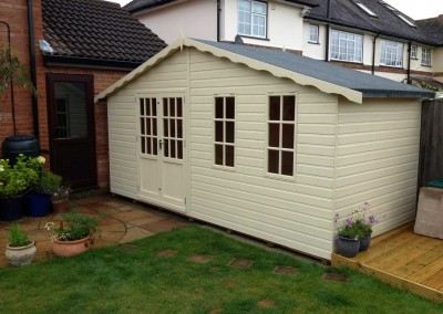 Hampton 14x7, Off-Set Doors, Reduced Roof Overhang, Shades Finish.