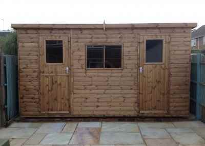 Heavy Duty Workshop 14x8 with Pent Roof and Split into Two Compartments