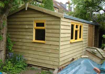 Heavy Duty Workshop 22x10, Featheredge Cladding, Joinery Windows and Open Fronted Storage Area
