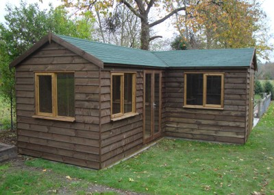 Heavy Duty Workshop 22x20, 'L' Shaped with Felt Tiled Roof, French Doors and Joinery Windows