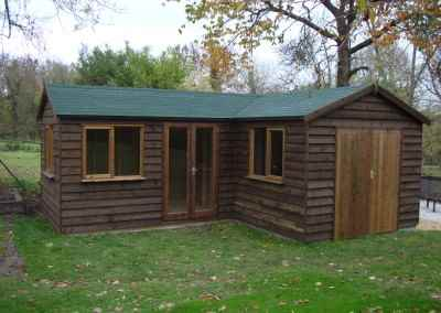 Heavy Duty Workshop 22x20 'L' shaped, Stained Featheredge Cladding, French Doors, Joinery Windows and Felt Tiled Roof