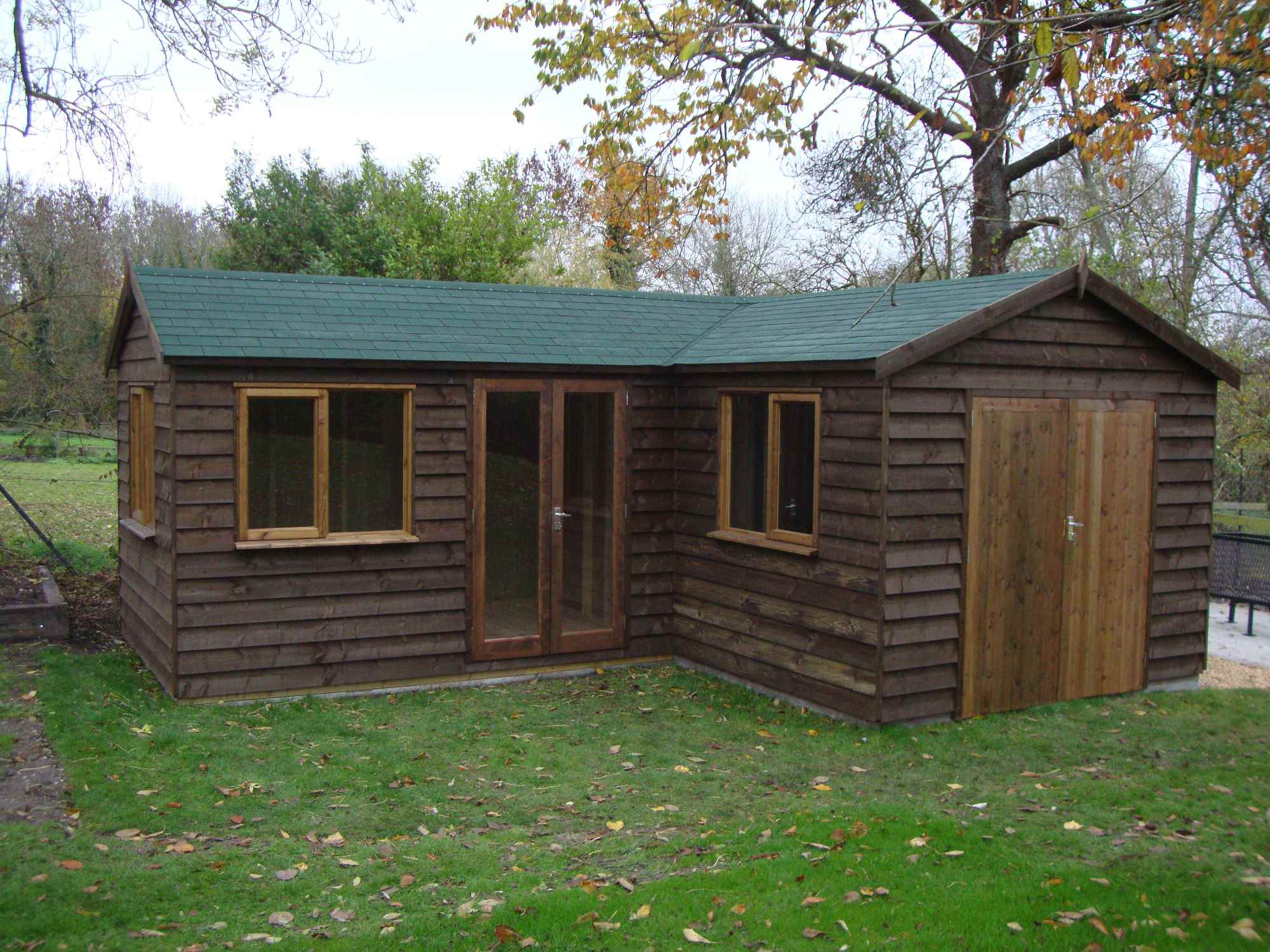 Heavy duty workshop bespoke buildings mb garden building L shaped building