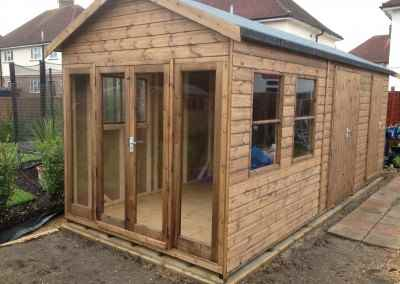 Heavy Duty Workshop 22x8 with Ascot Doors & Windows, Sash Windows and Seperate Shed Compartments and Guttering.