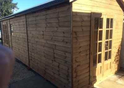 Heavy Duty Workshop 24x8 with 2 pairs of petersham doors and guttering.