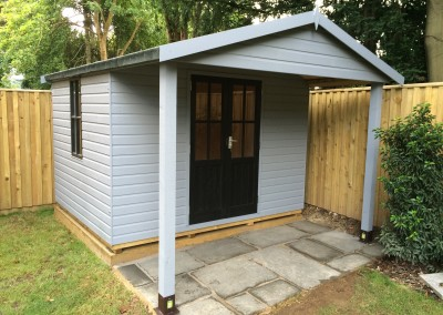 Heavy Duty Workshop 8x10 with Bespoke Doors_Window, 4x10 Roof Canopy on Support Posts, T&Gv Lining & Insulation and Painted Finish