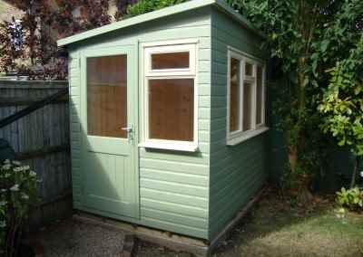 Heavy Duty Workshop 8x6 with Pent Roof, Half Glazed Door, Joinery Windows and Painted Finish,