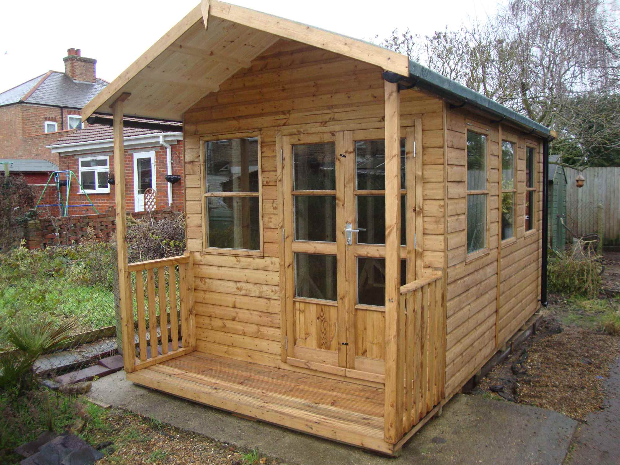 Heavy Duty Workshop Bespoke 12x8, 2'6 Verandah, 3 Pane Richmond Doors, Double Glazed & Guttering
