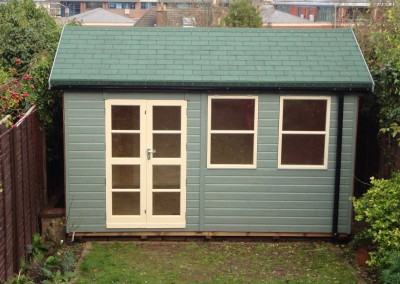 Heavy Duty Workshop Bespoke 13x10, Richmond Doors, Sash Windows, Felt Tiled Roof and WildThyme Finish