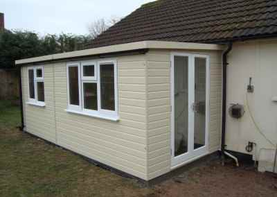 Heavy Duty Workshop Bespoke 18x8, Pent Roof Lean-To, UPVC Windows, French Doors, Internal Lining & Insulation with Country Cream Finish