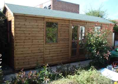 Heavy Duty Workshop Bespoke 22x8, Felt Tiled Roof, Double Glazed Windows & Richmond Doors, T&Gv Lined & Insulated