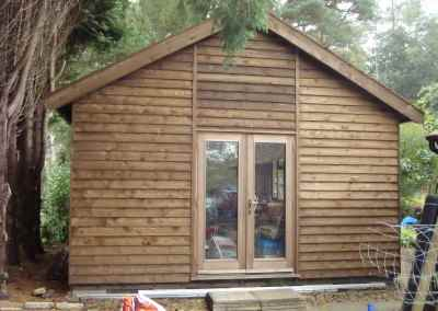 Heavy Duty Workshop Bespoke 24x16, Stained Featheredge Cladding and French Doors