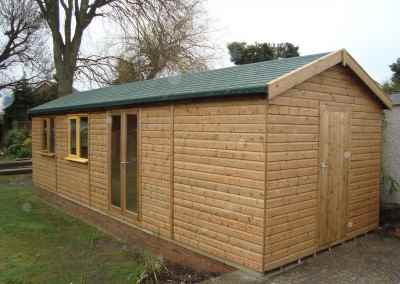 Heavy Duty Workshop Bespoke 30x10, Double Glazed Joinery Doors, Felt Tiled Roof and Partitioned Shed Compartment