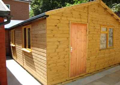 Heavy Duty Workshop Extension to Existing Heavy Duty Workshop 22x16  With Double Glazed Windows and Guttering
