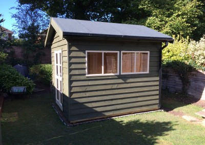 Heavy Duty Workshop with Featheredge Cladding, Facia & Soffit Roof, Guttering, Studio Doors and Painted Finish