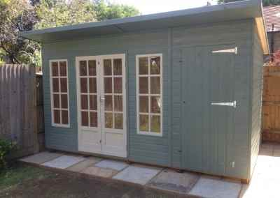 Petersham 14x8, Pent Roof, Shed Compartment, Shades Finish.