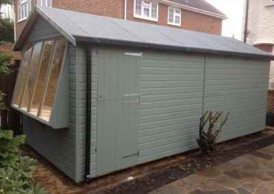 Solar 8x18 with Apex Roof, Guttering, Separate Shed Compartment and Painted Finish.