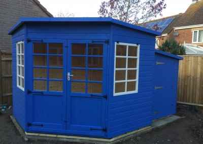 Tilford Corner House 8x8 with Painted Finish and Matching Tool Shed,